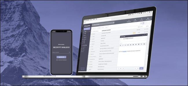 Sitio web y aplicación de ProtonMail.