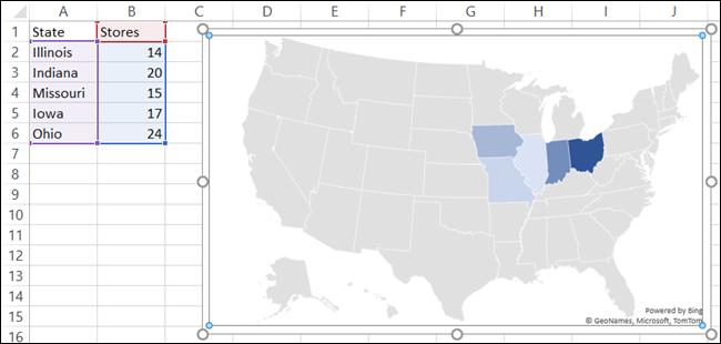Gráfico de mapa con datos en Excel