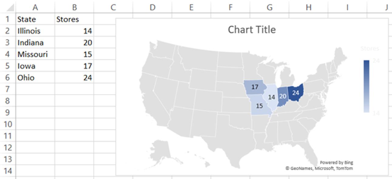 Cómo crear un gráfico de mapa geográfico en Microsoft Excel