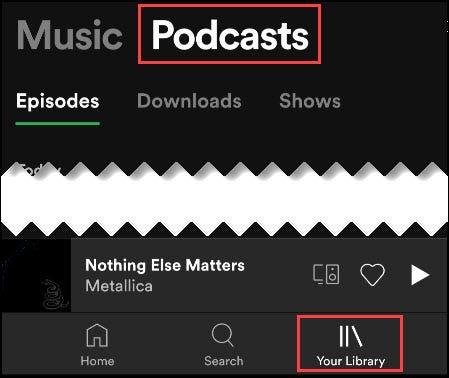 pestaña de podcast