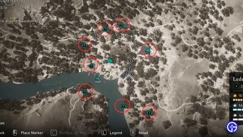 Las 8 ubicaciones de fogatas Valhalla