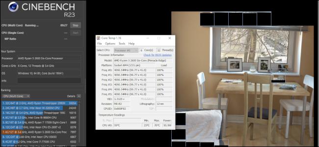 Cinebench ejecutando una prueba de renderizado de imágenes con una ventana Core Temp ejecutándose a su lado.