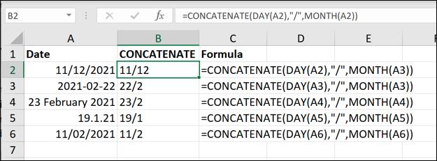 Ejemplos de la función CONCATENAR de Excel utilizada para eliminar el año de los valores de fecha.