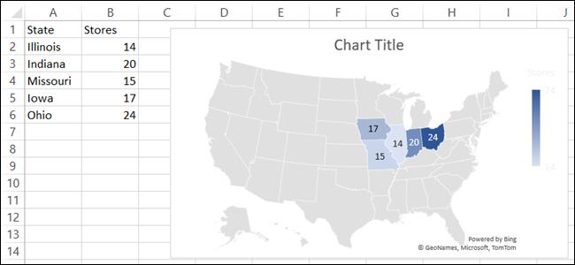 Gráfico de mapa en Microsoft Excel
