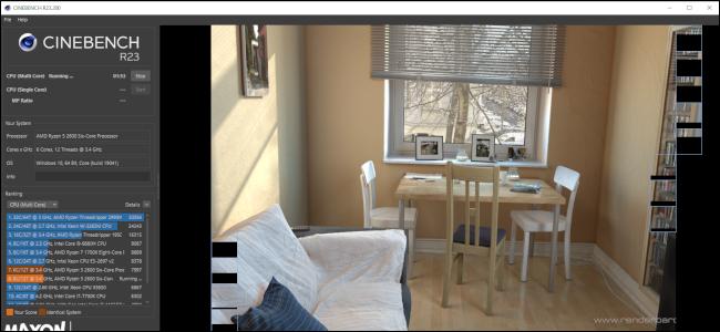 Cinenbench R23 realiza una prueba renderizando una imagen de una mesa y sillas con un sofá en primer plano.