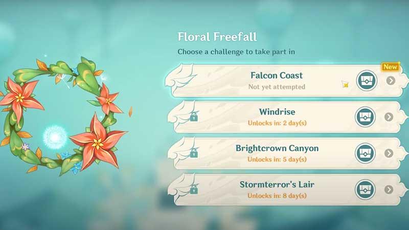 desafíos florales de caída libre