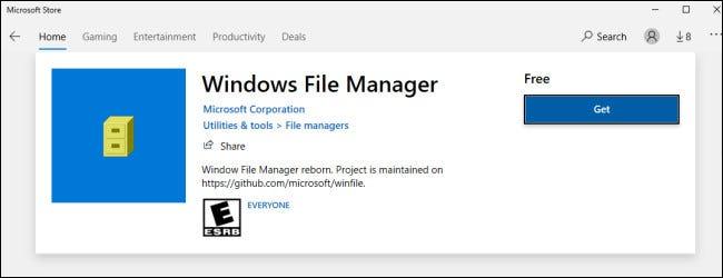Administrador de archivos en la tienda de Windows