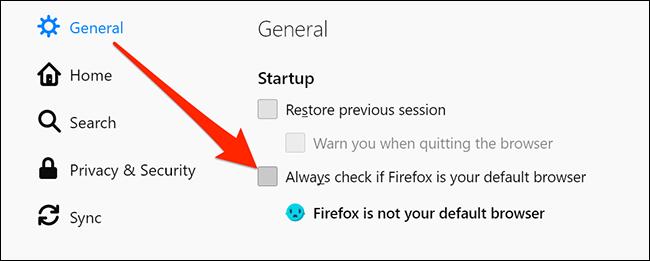 Deshabilitar las indicaciones del navegador predeterminado de Firefox