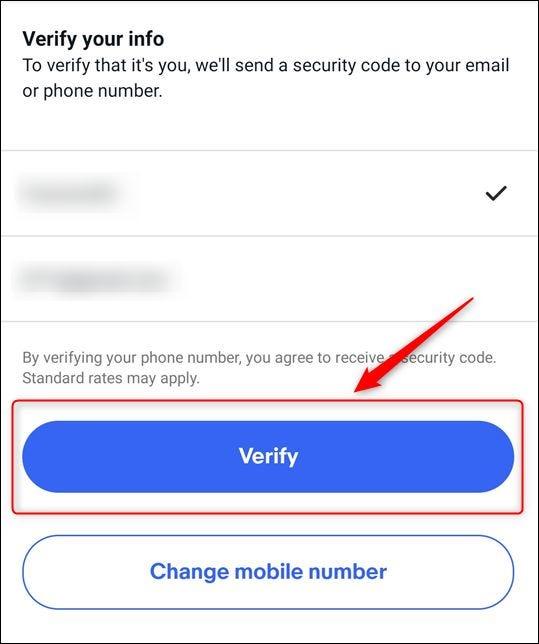"""La elección del número de teléfono y la dirección de correo electrónico, y la """"Verificar"""" botón"""