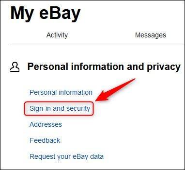 """ebay """"Entrada y Seguridad"""" opción de menú."""