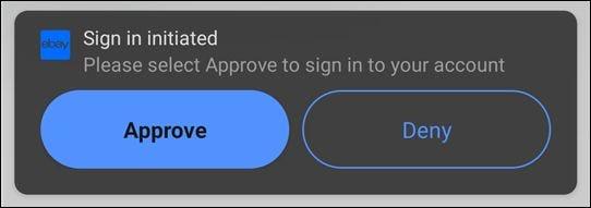 La alerta de aprobación cuando alguien inicia sesión en su cuenta de eBay.