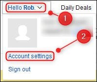 """de eBay """"Configuraciones de la cuenta"""" opción de menú."""
