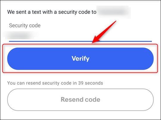"""El cuadro de texto de entrada de código y el """"Verificar"""" botón"""