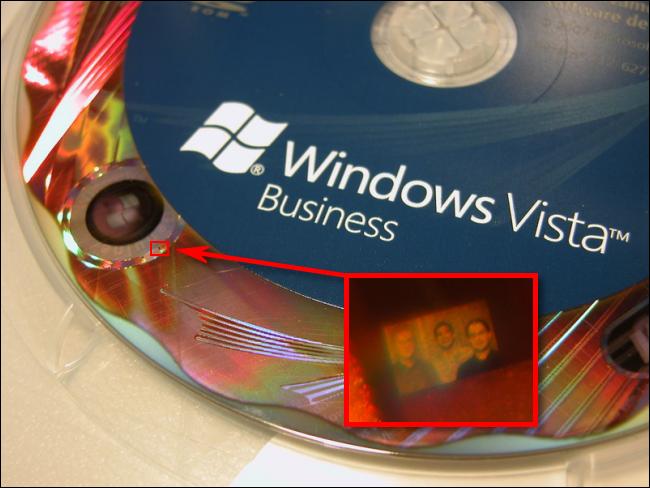 La foto del holograma del equipo de seguridad de Windows Vista.