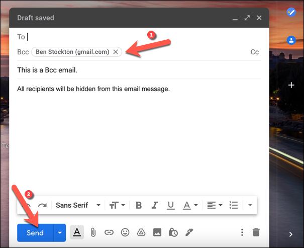 """Escriba los destinatarios ocultos previstos en el """"Cco"""" cuadro de campo, luego presione """"Enviar"""" para enviar el mensaje."""