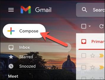 """En la interfaz web de Gmail, presione el """"Componer"""" para comenzar a enviar un nuevo correo electrónico."""