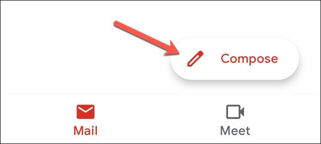 """En la aplicación Gmail, toque el """"Componer"""" botón."""