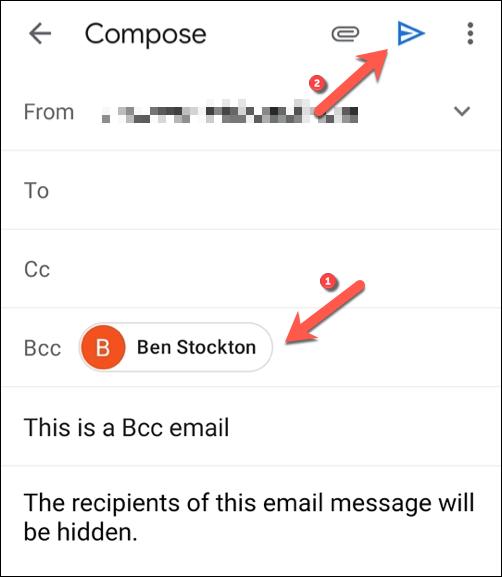 """Agregue los destinatarios de correo electrónico que desea ocultar en el """"Cco"""" cuadro de campo, luego toque el """"Enviar"""" botón para enviar el mensaje."""