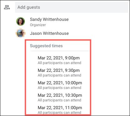 Haga clic en Horarios sugeridos para obtener una lista de los horarios disponibles.