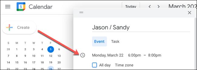 Crea el evento y agrega la fecha y la hora