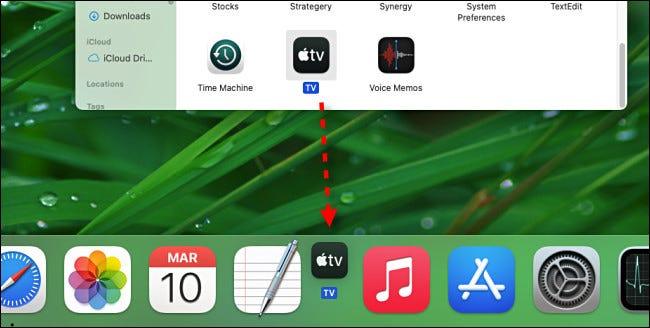 Para agregar una aplicación al dock, arrastre su ícono desde Finder.