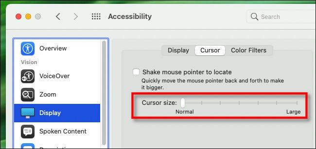 """Para agrandar el puntero del mouse de Mac, use el """"Tamaño del cursor"""" deslizador."""