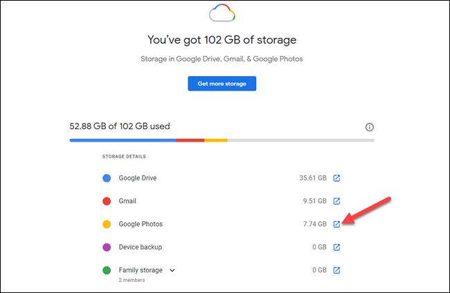 almacenamiento de google one