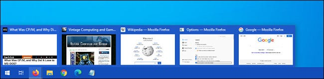 Un ejemplo de miniaturas de vista previa de la pestaña de la barra de tareas de Firefox en Windows 10.