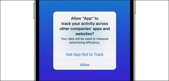 La ventana emergente de solicitud de seguimiento de la aplicación de iPhone.