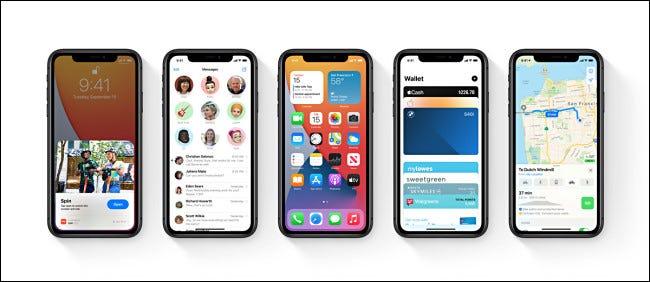 Cinco iPhones de Apple con iOS 14.