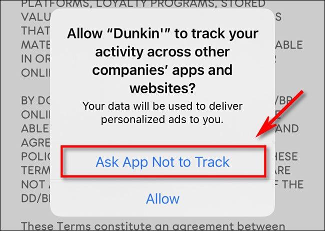 """Grifo """"Solicite a la aplicación que no rastree."""""""