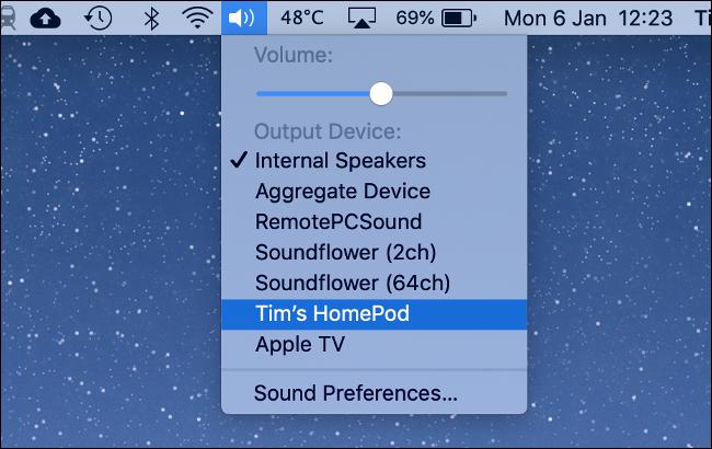 Transmitir a HomePod a través de AirPlay desde una Mac