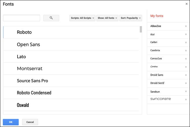 Fuentes disponibles en Google Docs