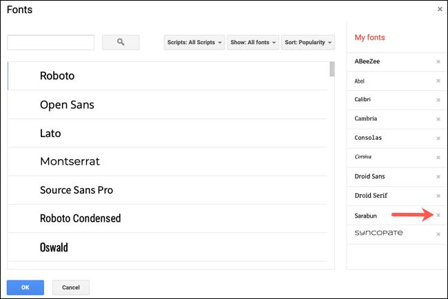 """Haga clic en un """"X"""" junto a una fuente para eliminarla de la lista."""