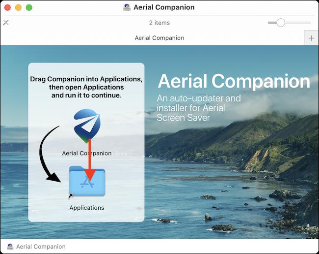 Arrastre la aplicación Aerial Companion a la carpeta de aplicaciones