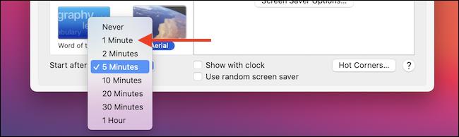 Cambiar el tiempo del protector de pantalla