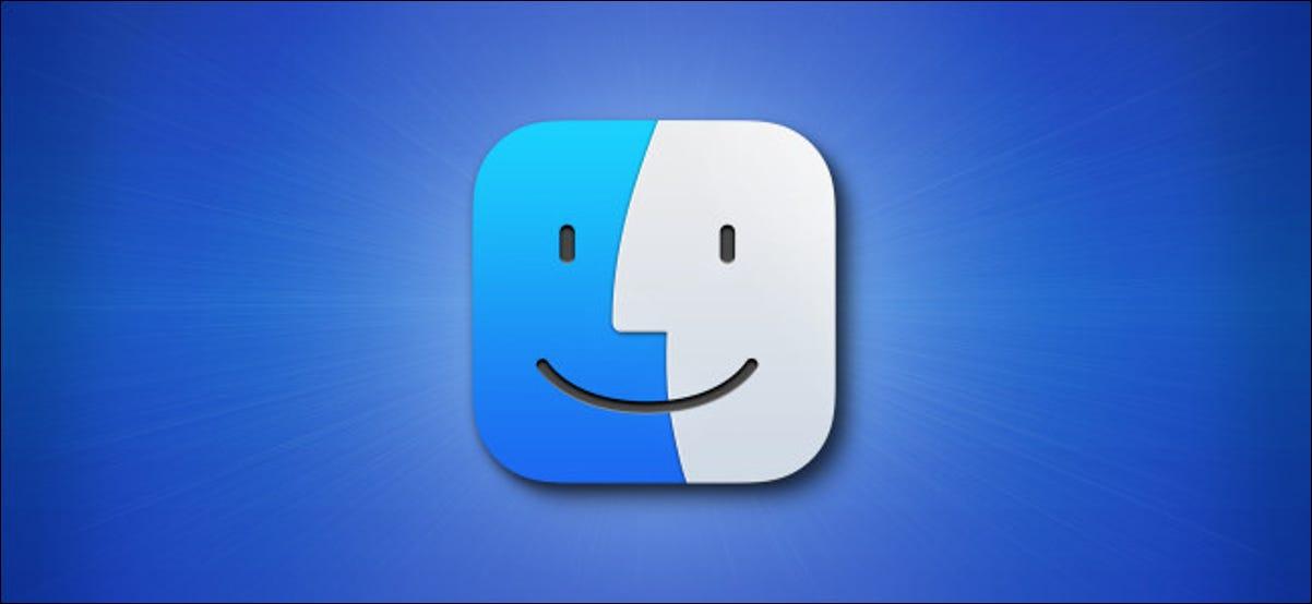 El icono de Apple Mac Finder Big Sur sobre un fondo azul