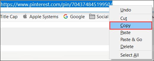 Haga clic derecho para copiar la URL de Pinterest