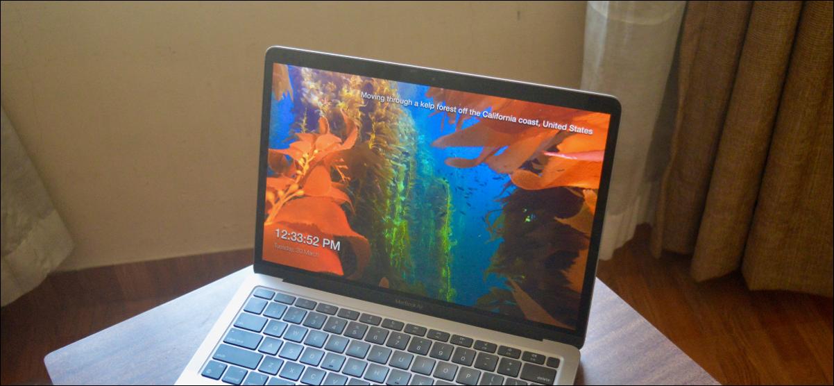 Protector de pantalla cinematográfico de Apple TV en MacBook