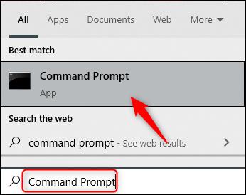 Resultado de la búsqueda del símbolo del sistema en Windows 10