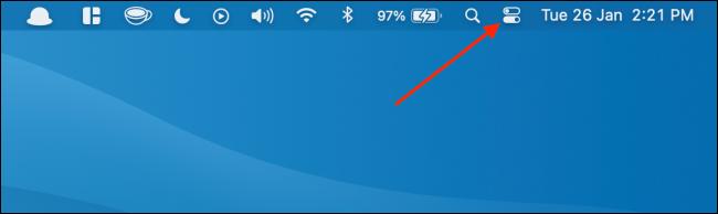 Haga clic en Centro de control en la barra de menú en Mac