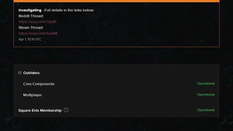 Enlace de estado del servidor Outriders