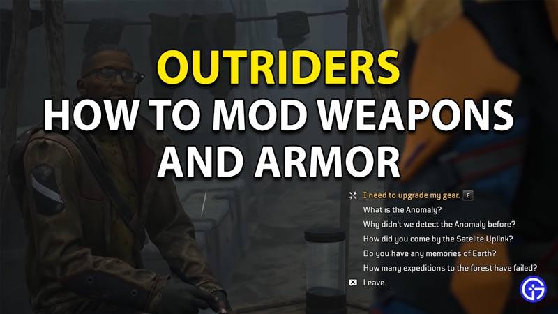 Outriders cómo modificar armas y armaduras.