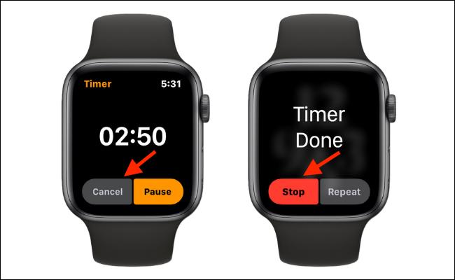 Cancelar o detener el temporizador en el Apple Watch