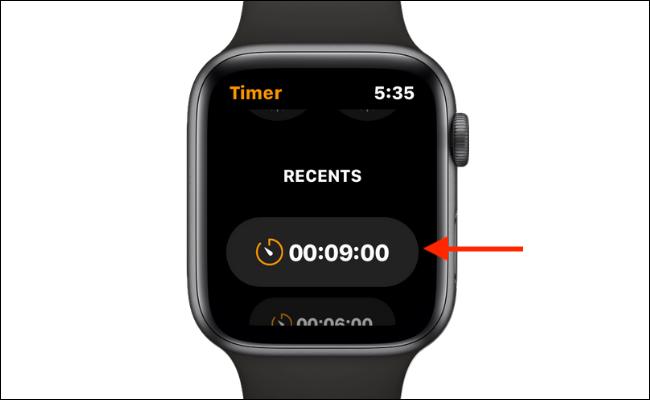Use un temporizador personalizado reciente en el Apple Watch