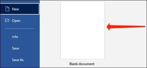 Haga clic en Documento en blanco