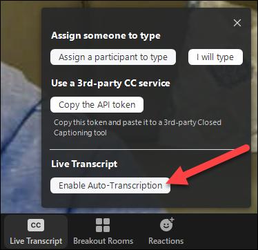 habilitar la transcripción en vivo