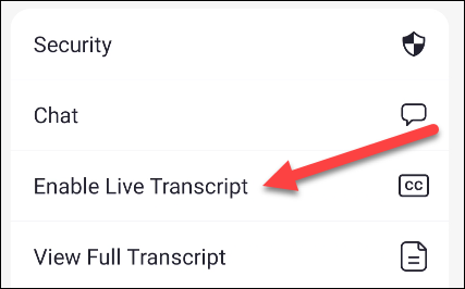 habilitar transcripción en vivo