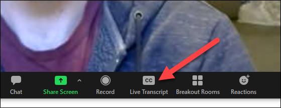 botón de transcripción en vivo