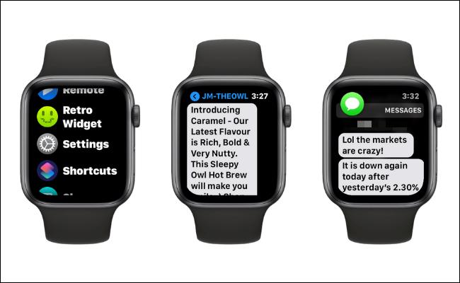 Ejemplos de aumento del tamaño del texto en el Apple Watch